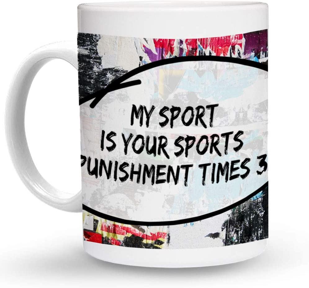 Makoroni - MY SPORT IS YOUR SPORTS PUNISHMENT TIMES 3! Running 6 oz Ceramic Espresso Shot Mug/Cup Design#26