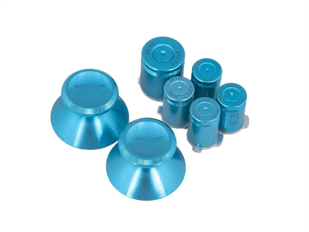 Mod Xbox 360 Controllers Metal Thumbsticks & Metal ABXY/Guide Bullet Buttons Set - Sky Blue