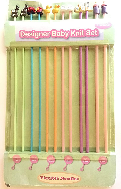 Flexable Knitting Needles, Designer Baby Knit Set, 6 Sets Sizes:3-6mm