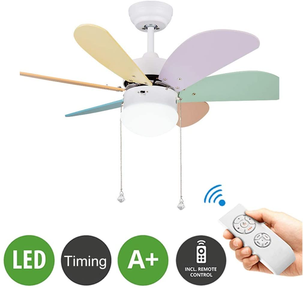 TSDS Ceiling Fans Light with Colored 6 Blades, Kids LED Eye Protection Lamp with Fan, Children's Room Mute with Remote Control Ceiling Fan Light, 30in Modern Energy-Saving Light
