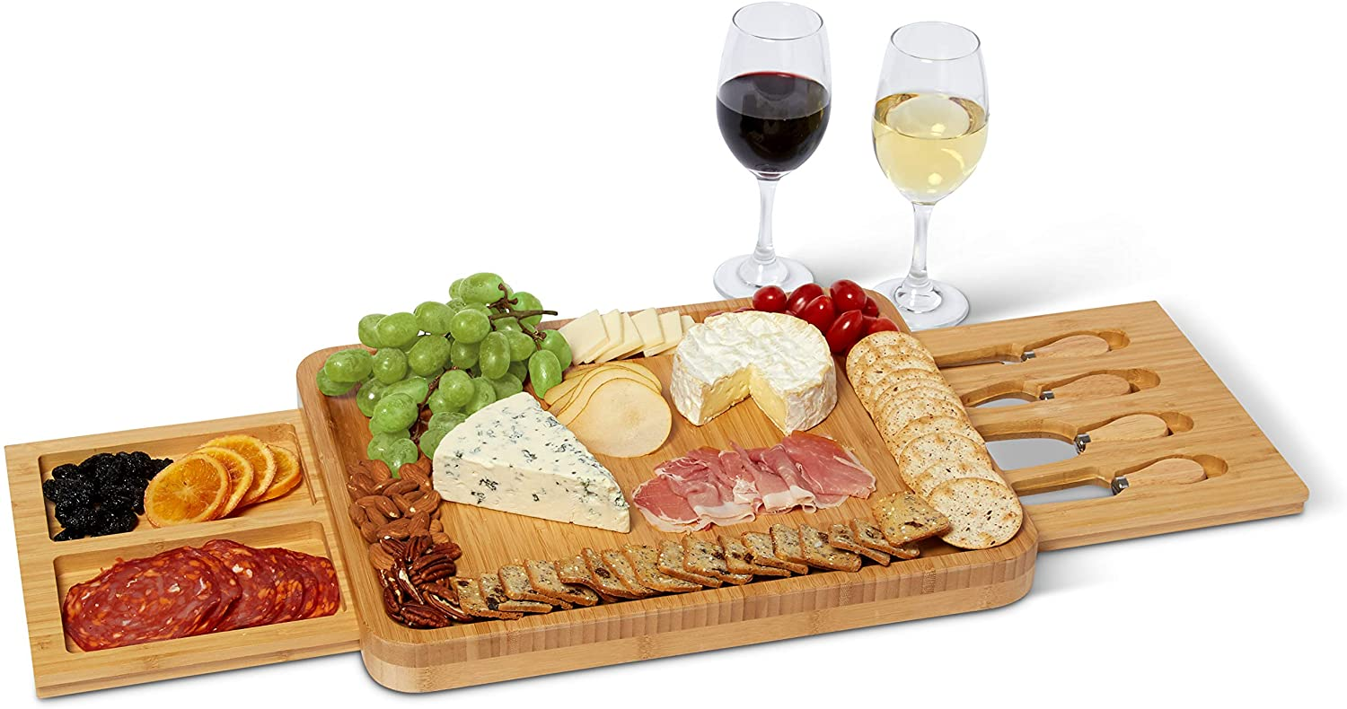 Cheese Board - Extra Large Cheese Tray - 100% Natural Bamboo - Cutlery Set - Charcuterie Serving Platter - Fancy Cheeseboard - Stainless Steel Knife - Hidden Drawers - Bamboo Chopping Block - Picnic -
