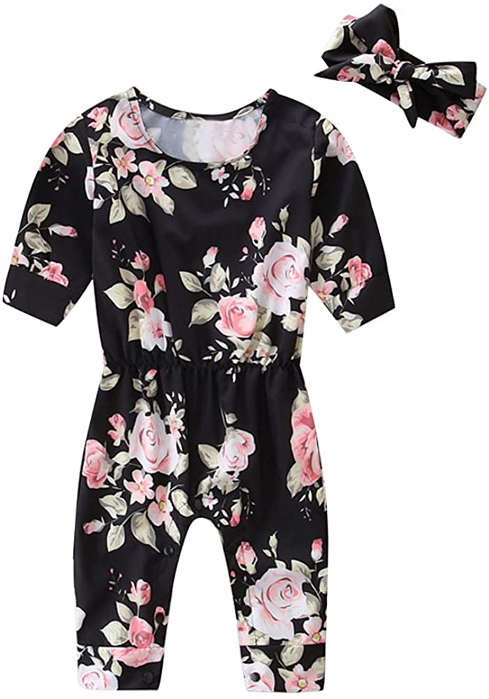 HBER 0-24M Baby Toddler Girl Romper Clothing Long Sleeve Floral Jumpsuit Outfits Set with Headband