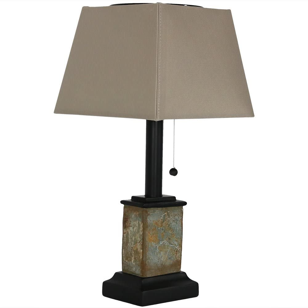 Sunnydaze Solar Table Lamp - 16-Inch Outdoor Night Light - Contemporary Square Slate - Weather Resistant & Cordless - Pull String On/Off - Use on Patio, Porch, Deck, or Sunroom