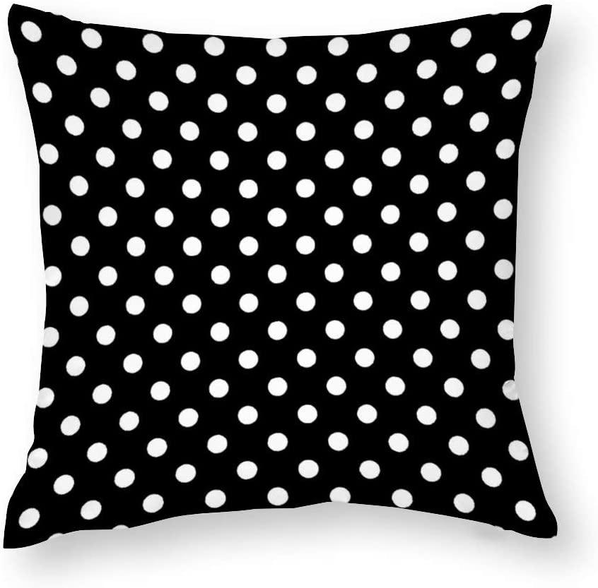 Modern Black and White Polka Dot Throw Pillow Covers Case Cushion Pillowcase with Hidden Zipper Closure for Sofa Home Decor 24 x 24 Inches