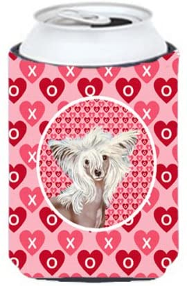 Caroline's Treasures LH9167CC Chinese Crested Valentine's Love and Hearts Can or Bottle Beverage Insulator Hugger, Can Hugger, multicolor