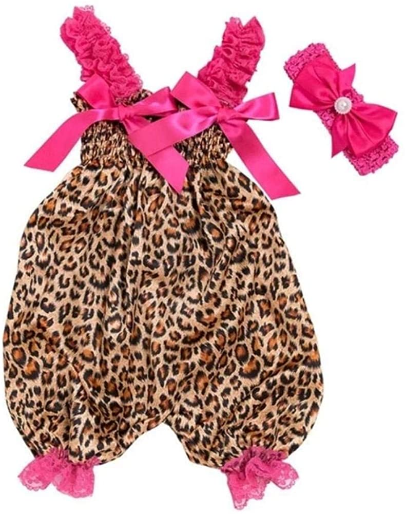 Leopard Print Baby Romper Clothes Set Summer Newborn Girl Sleeveless