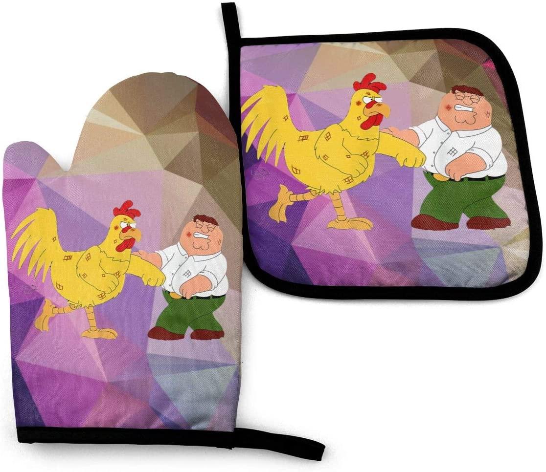 Duwamesva Family Guy Oven Mitt and Pot Holder Set Heat Resistant Waterproof Household Kitchen Supplies