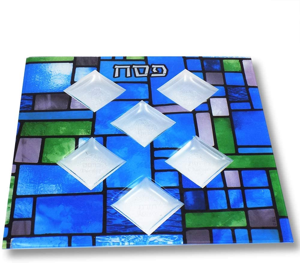 Rite Lite Stained Glass Square Seder Plate