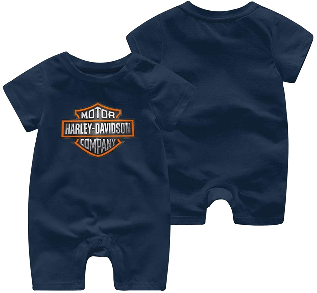 Harley Davidson One Piece Outfits Baby Solid Color Rompers with Button Kids Short Sleeve Playsuit Jumpsuits Cotton Clothing 12 Months Navy