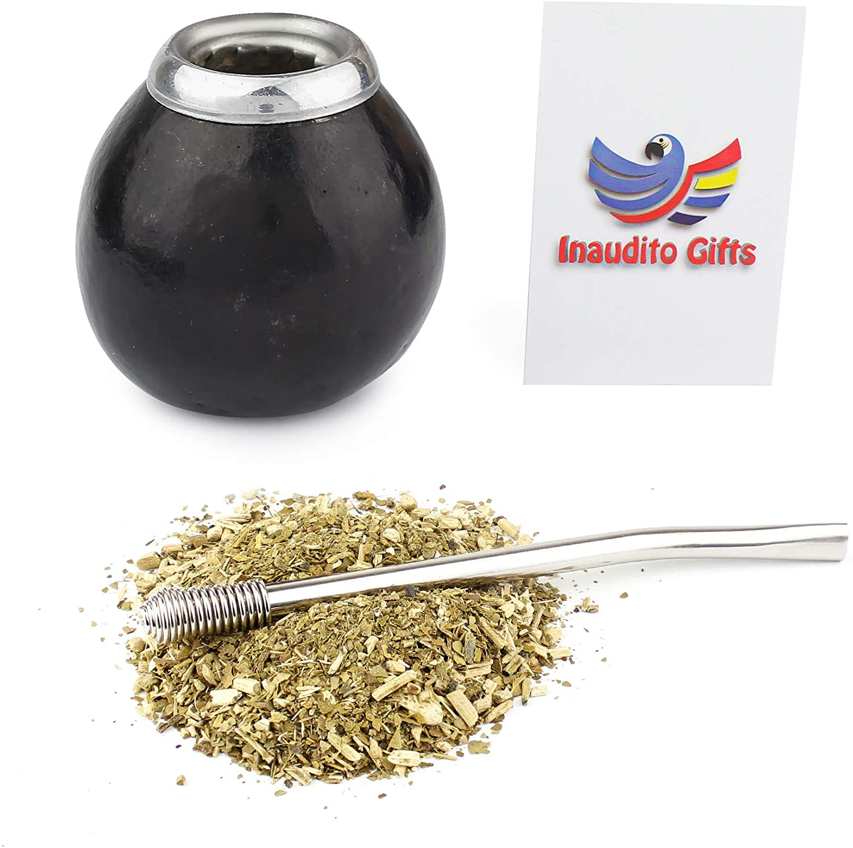 Inaudito Gifts Handmade Mate Gourd and bombilla. Yerba Mate Set