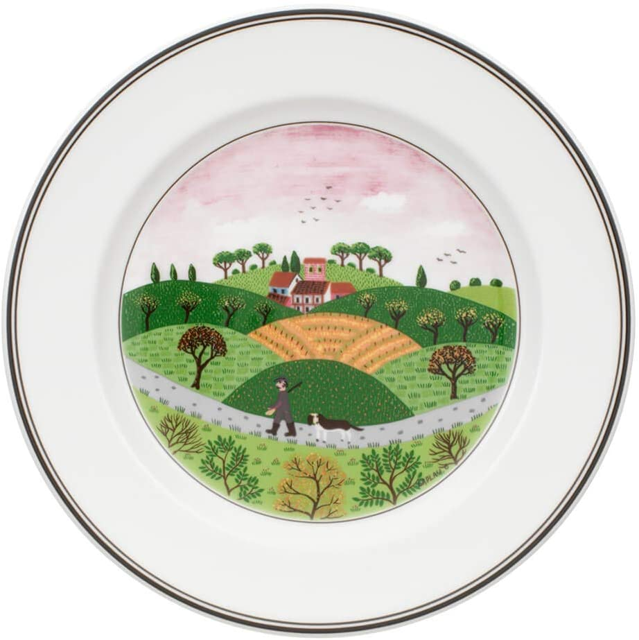 Villeroy & Boch 10-2337-2647 Design Naif Salad Plate #6-Hunter & Dog, 8.25 in, White/Colorful