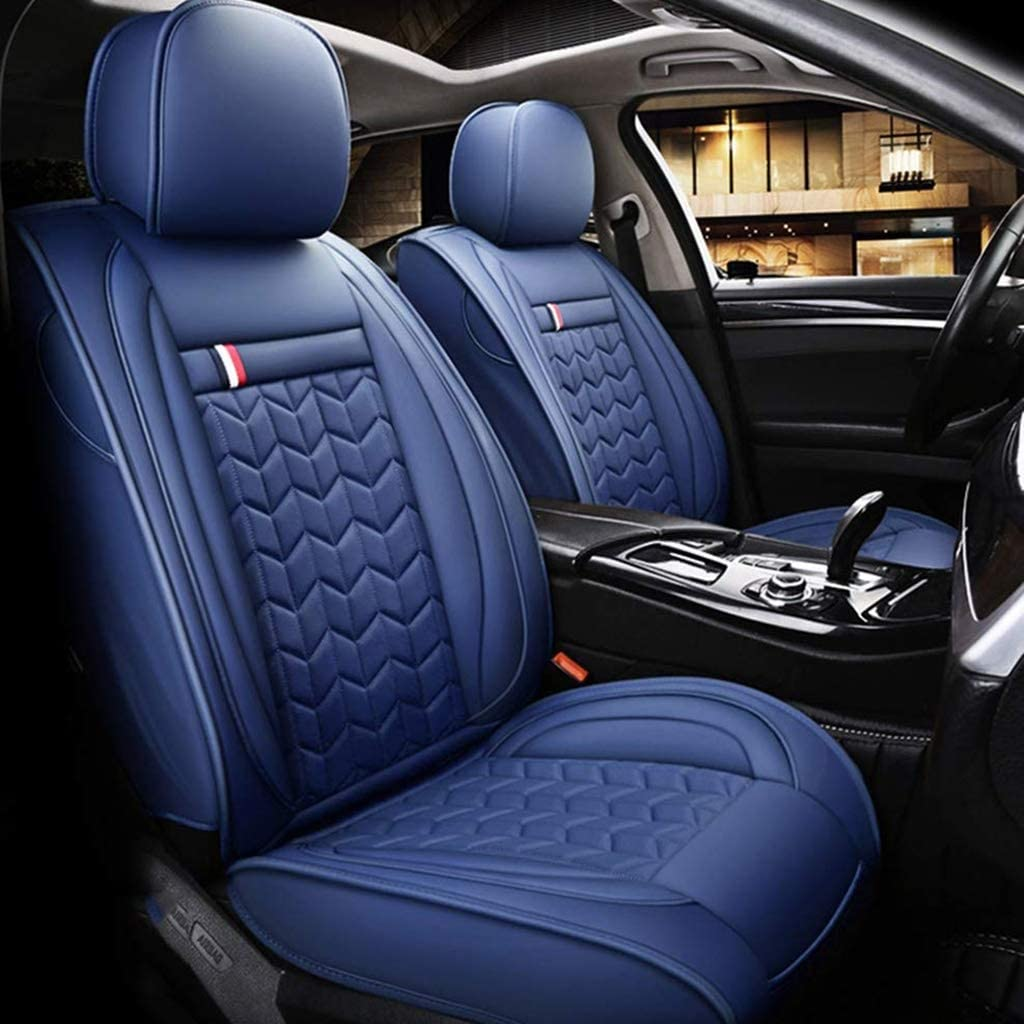 Rsiosley Car Seat Covers, Four Seasons Leather Seat Cover, Environmentally Friendly Wear-Resistant Waterproof Summer Seat Cover for Most Five-Seater Cars (Color : Blue)