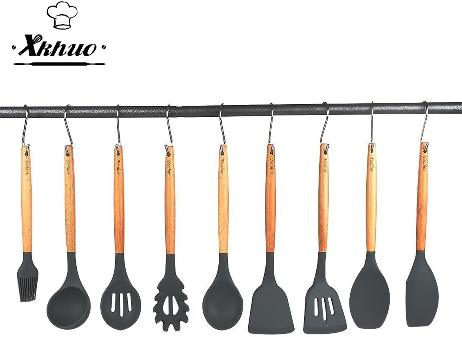 XKHUO 9pcs/set Multi-Purpose Wooden Handle Silicone Kitchenware Baking Tools Kitchen Accessories