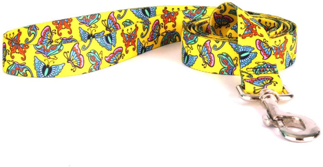 Yellow Dog Design Standard Lead, Butterflies on Yellow, 3/8
