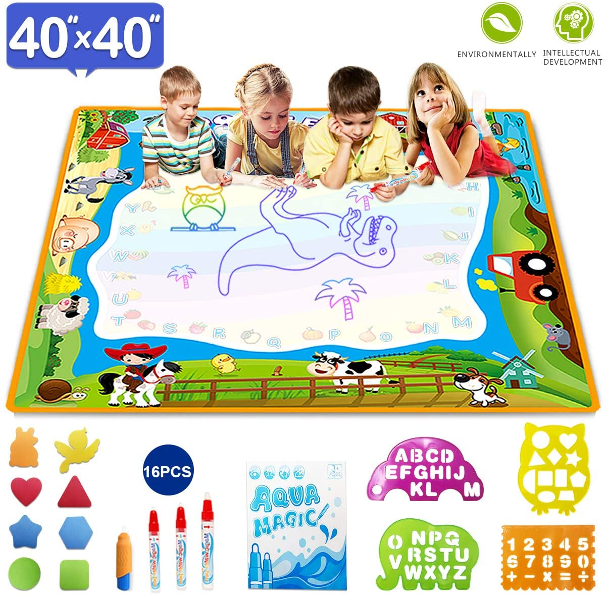 OKBONN Drawing Mat,Aqua Magic Mat Extra Large Water Doodle mat, Educational Toys Gifts for Kids Age 2+,Drawing Set with Non-Toxic Water Pens for Toddlers 40×40 inch