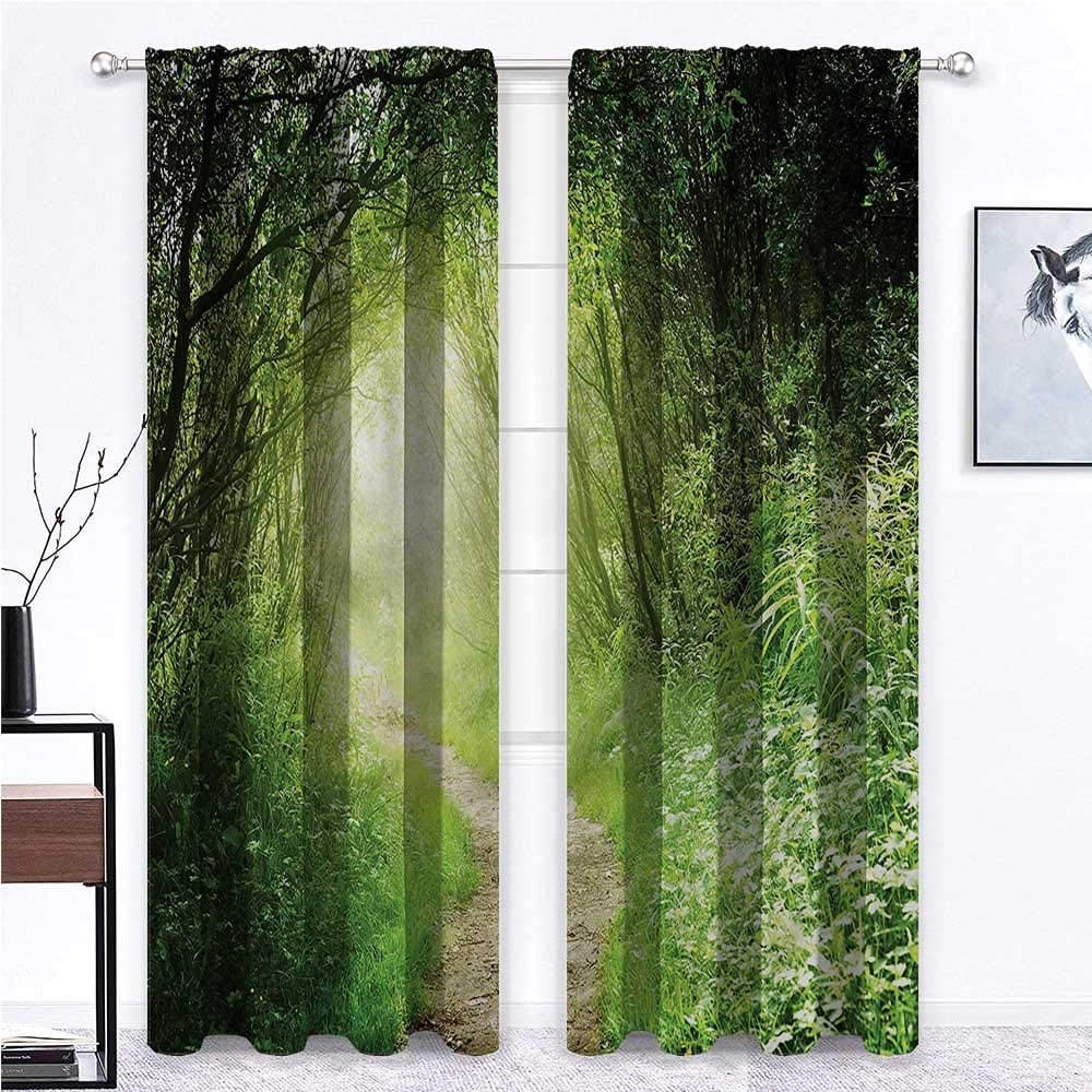 GugeABC Weatherproof Outdoor Curtains Woodland for Living/Bedroom Room Patio Door Forest Narrow Path Daisy 63 x 63 Inch (2 Panels)