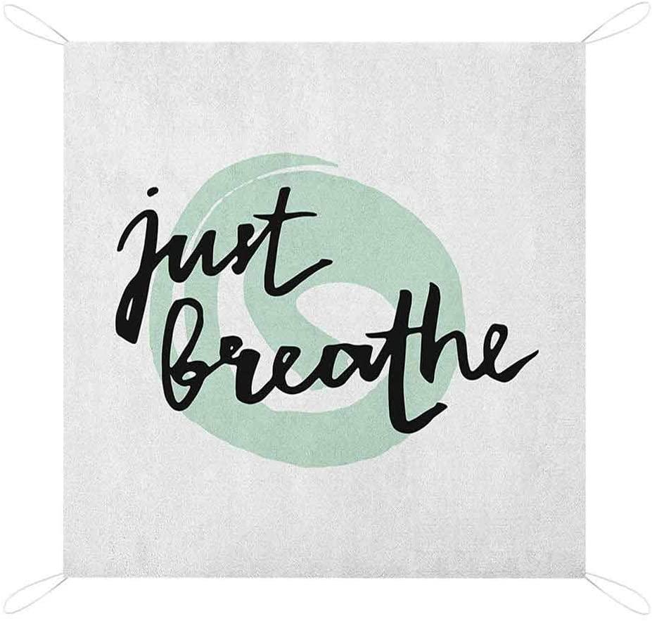Nomorer Just Breathe Beach Blanket Waterproof Sandproof, Inspirational Positive Saying with Modern Brush Calligraphy Art Print Picnic Blanket, 80 x 57, Mint Green Black White