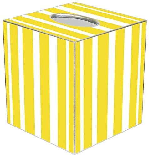 Marye-Kelley Yellow Stripe Tissue Box Cover Tissue Box Cover Square Paper-Mache Tissue Box Cover Holder Bathroom Vanity Countertops, Bedroom Dressers, Night Stands,