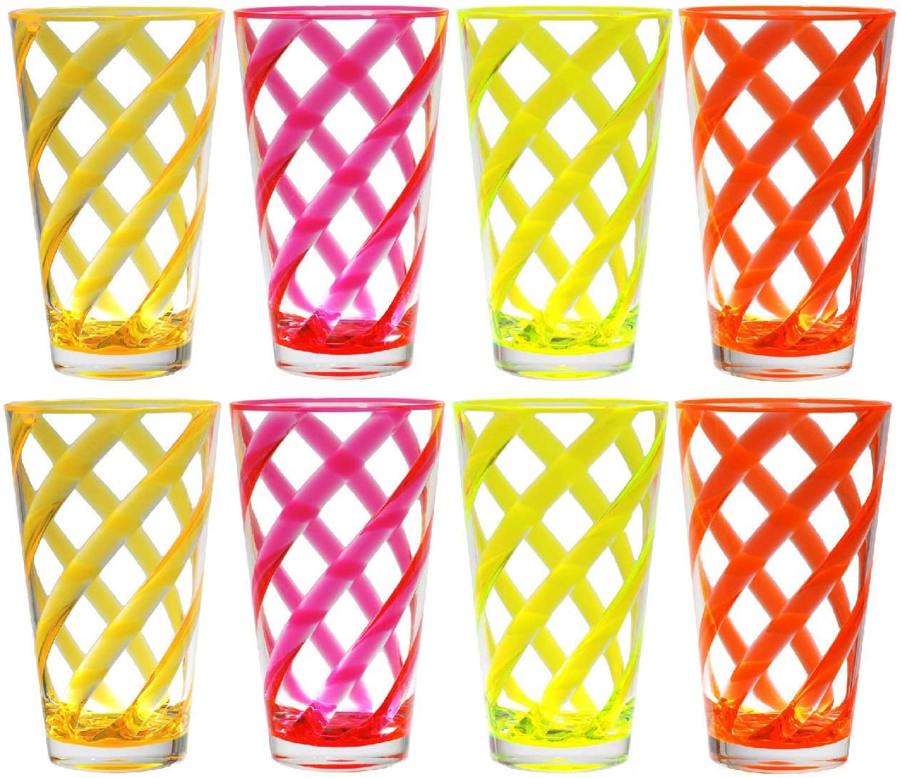 QG Set of 8 Acrylic 22-Ounce Iced Tea Cup Neon Color Twist Stripes w/Clear Heavy Base Plastic Tumbler Set in 4 Assorted Colors