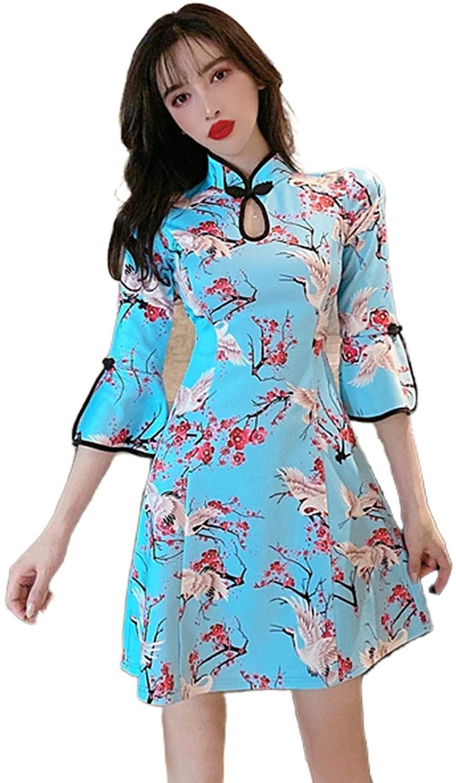 Qipao 2020 Oriental Dress Mandarin Collar Women Chinese Dress Satin Vintage Sexy Cheongsam Novelty Stage Show Cheongsam Dress
