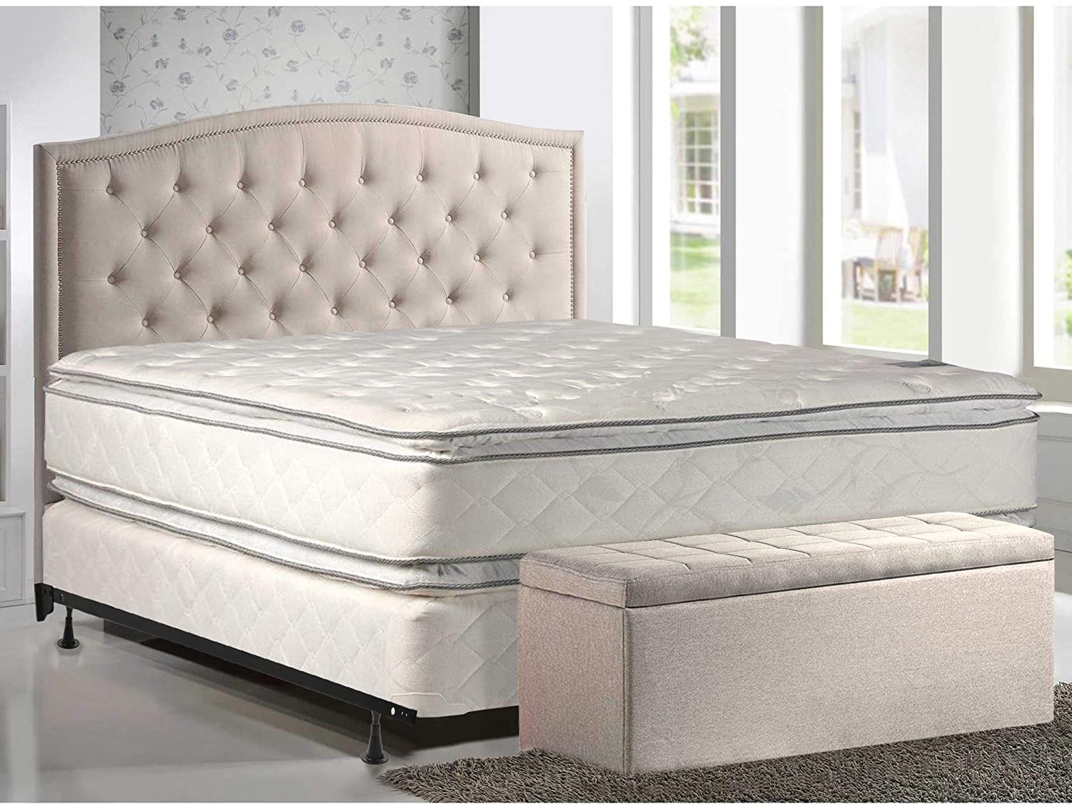 Mattress Solution 302yF-4/6XL-2LPS 12 Plush Pillowtop, Orthopedic Doublesided Mattress and 4 Split Box Spring/Foundation Set with Frame, Princess Collection, Full XL, Size