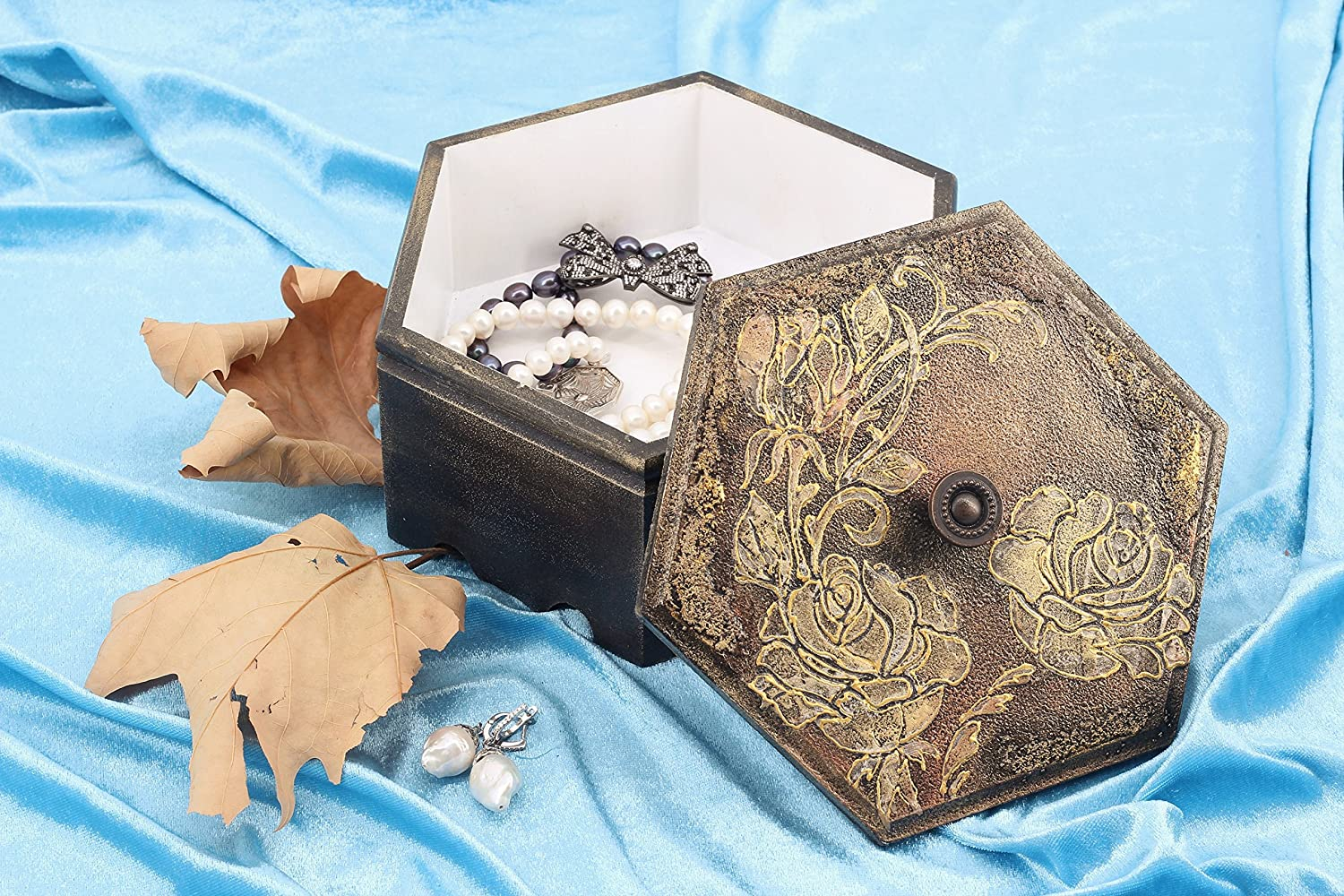 Anatolianway Hexagon shaped jewelry box painted with floral golden theme (JewelryBox1007)