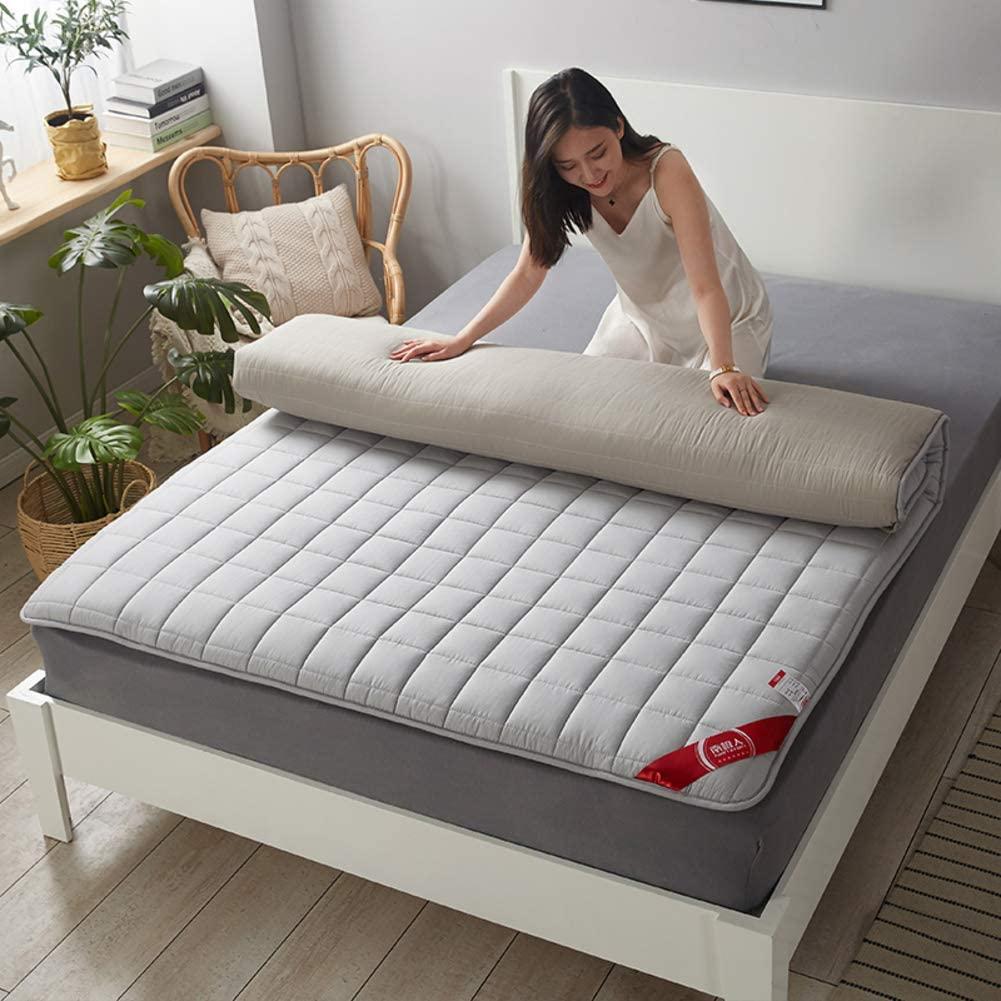 D&LE Full Futon Mattress, Japanese Tatami Mattress Soft Sleeping Floor Mat Breathable Folding Mattress Anti-Slip-Gray Full