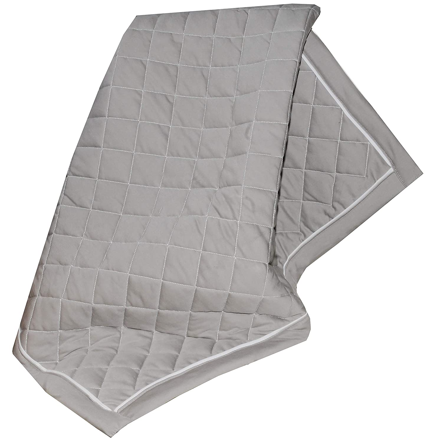 Fuzzies Quilted Thermal Baby Blanket for Boys & Girls | Doubled-Sided, Gray and White| Buttery Soft, Breathable Cotton Infant/Toddler Quilt Throw Blanket | Warm, Peaceful Sleeping in Crib – 36 x 36