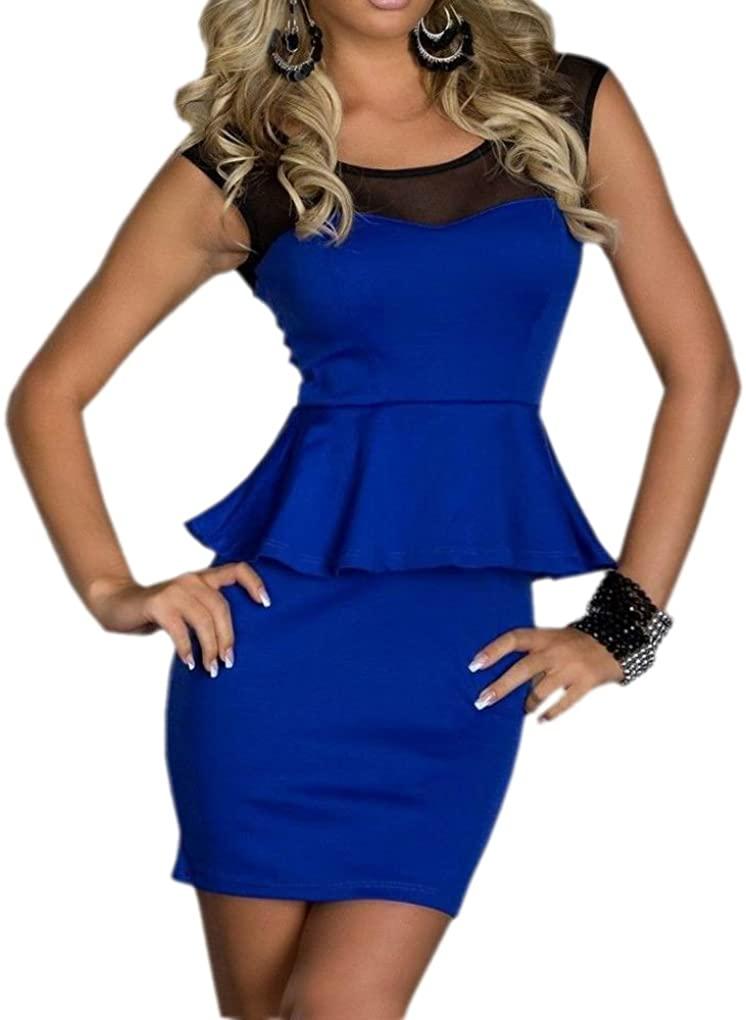 JJ-GOGO Womens Mesh Inserts Peplum Evening Dress