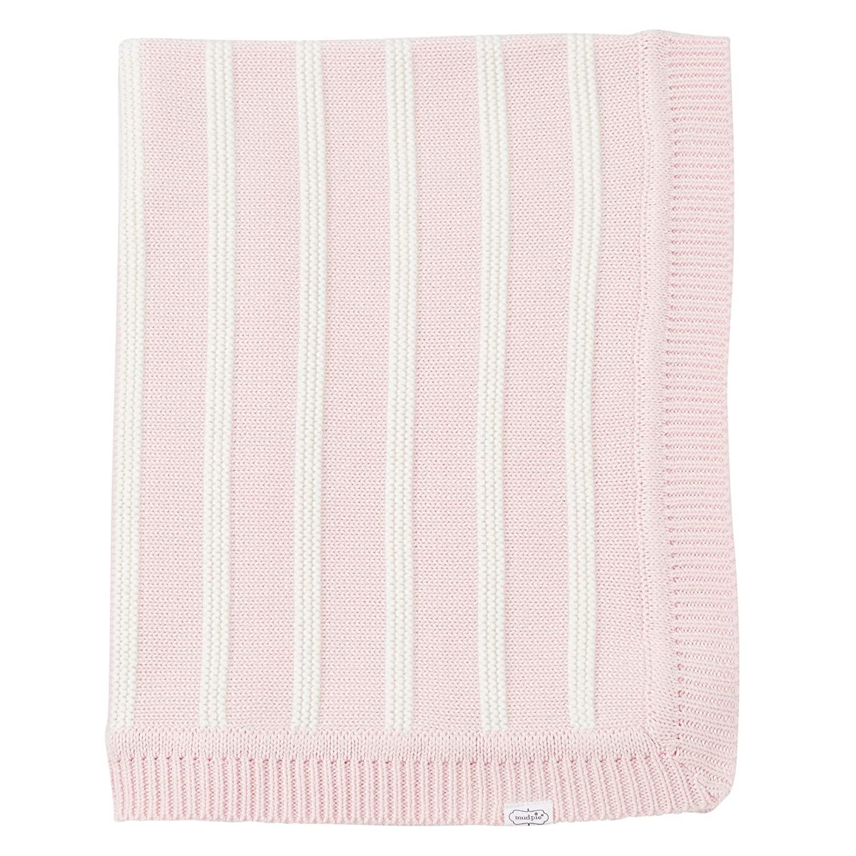 Mud Pie Soft Cotton Nursery Decor Blanket Pink and White Stripe, Pink/White