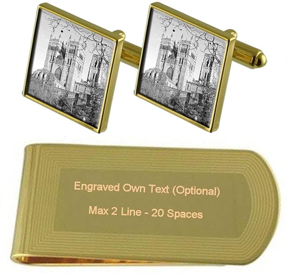 Cathedral Durham Gold-tone Cufflinks Money Clip Engraved Gift Set