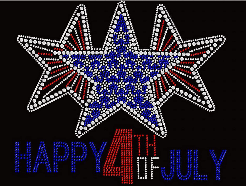 Three Bling Stars Happy Happy 4th of July Rhinestone Iron on Transfer