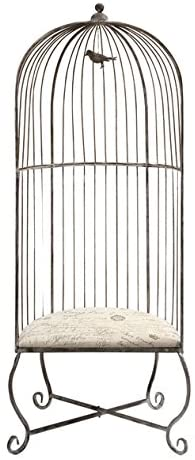 IMAX Dorchester Birdcage Accent Chair - Single, Gray Metal Chair with White Cushioned Seating. Home Decor Furniture