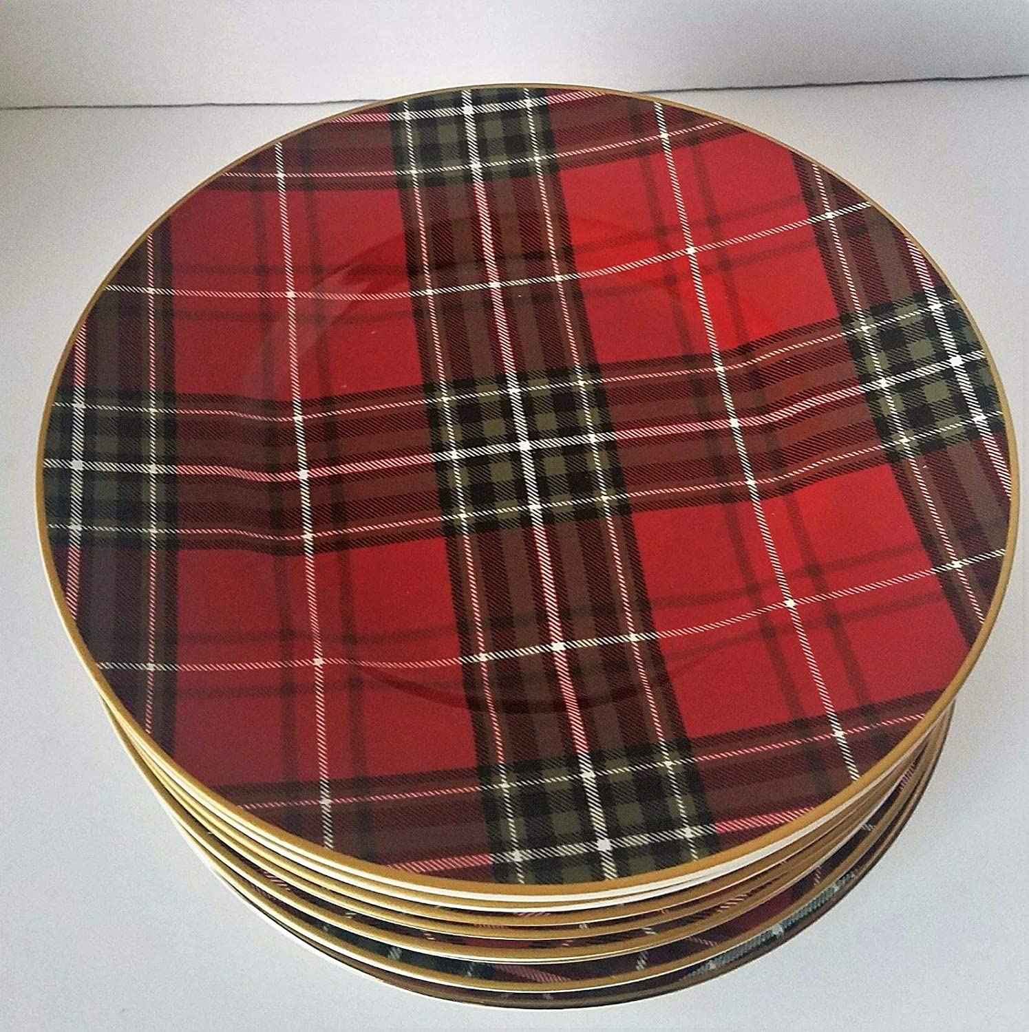 222 fifth Wexford Plaid Red Salad Plate Set Of 7