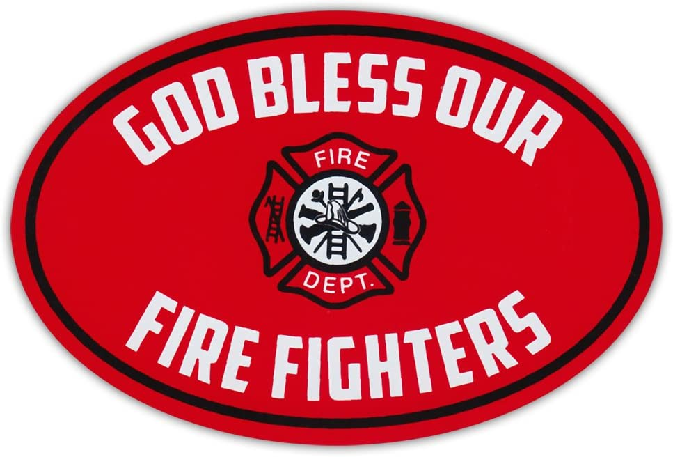 Oval Car Magnet - God Bless Our Fire Fighters - Fire Department - Magnetic Bumper Sticker