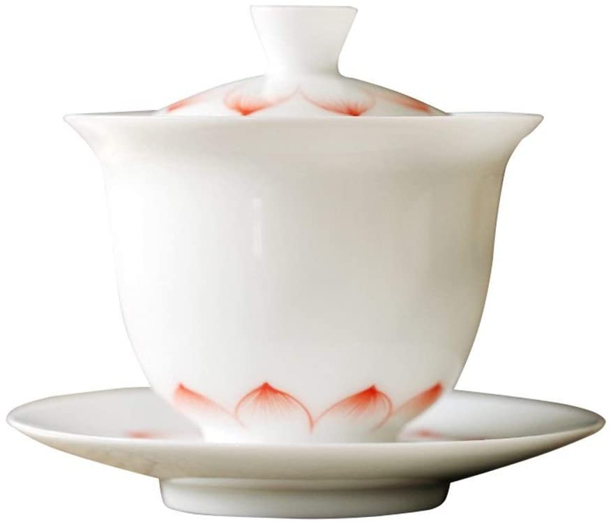 MADONG Jade mud painted white porcelain tureen with God Queen underglaze color ceramic tea bowls offer tea (Color : Red lotus)