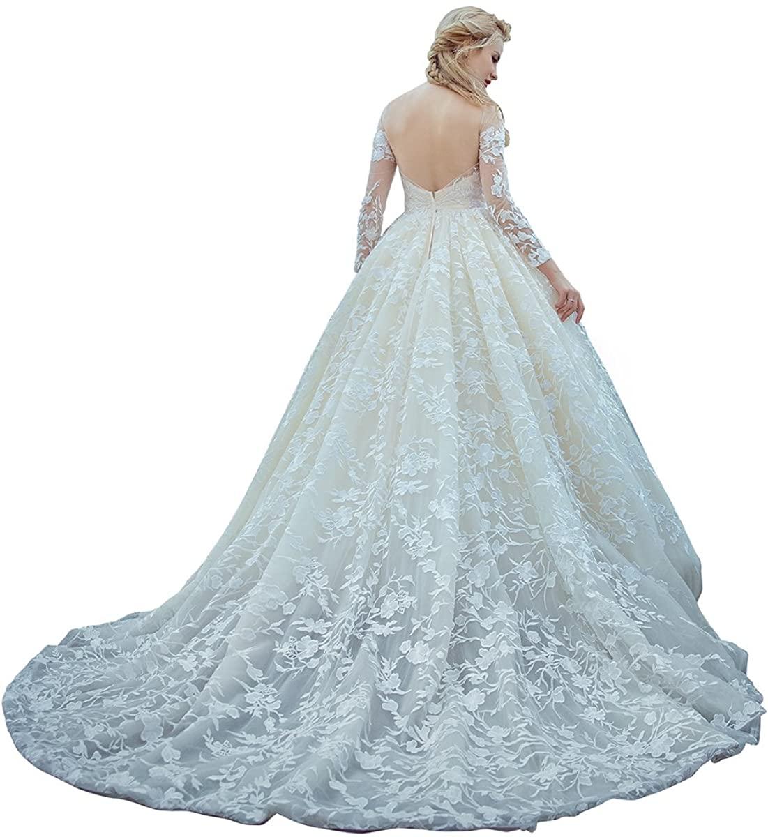 BAOFULIN Wedding Mermaid Wedding Dresses Formal Tulle Lace Appliques Pearls Long Sleeve Floor Length Bridal Gowns Custom