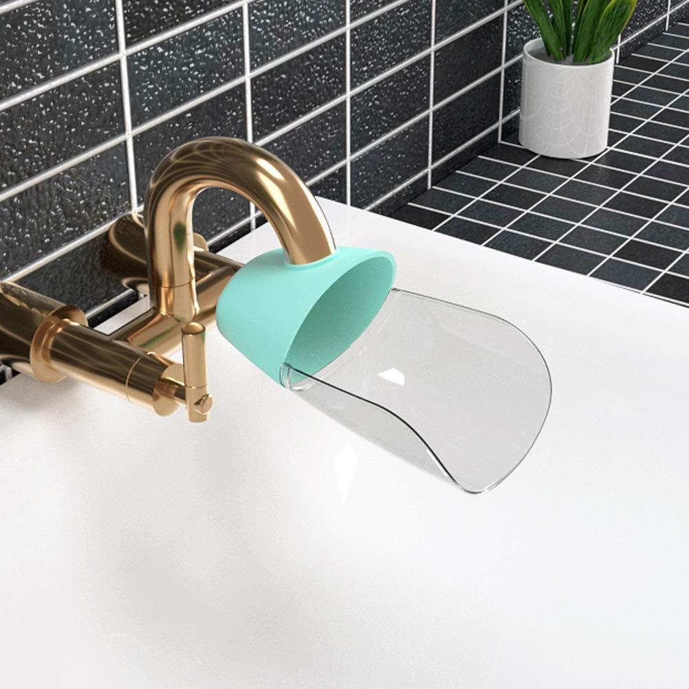 Zmmyr 2 Packs Faucet Extenders Safety Baby Sink Water Diverter Hand Washing Machine Splash Water Kitchen Bathroom (Blue)