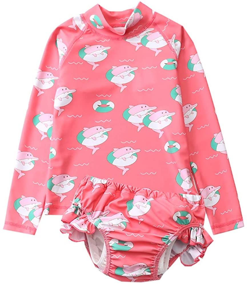 Baby Toddler Girls Long Sleeve Swimsuit Set Dolphins Bathing Suit Sun Protective Swimwear Rash Guards UPF 50+