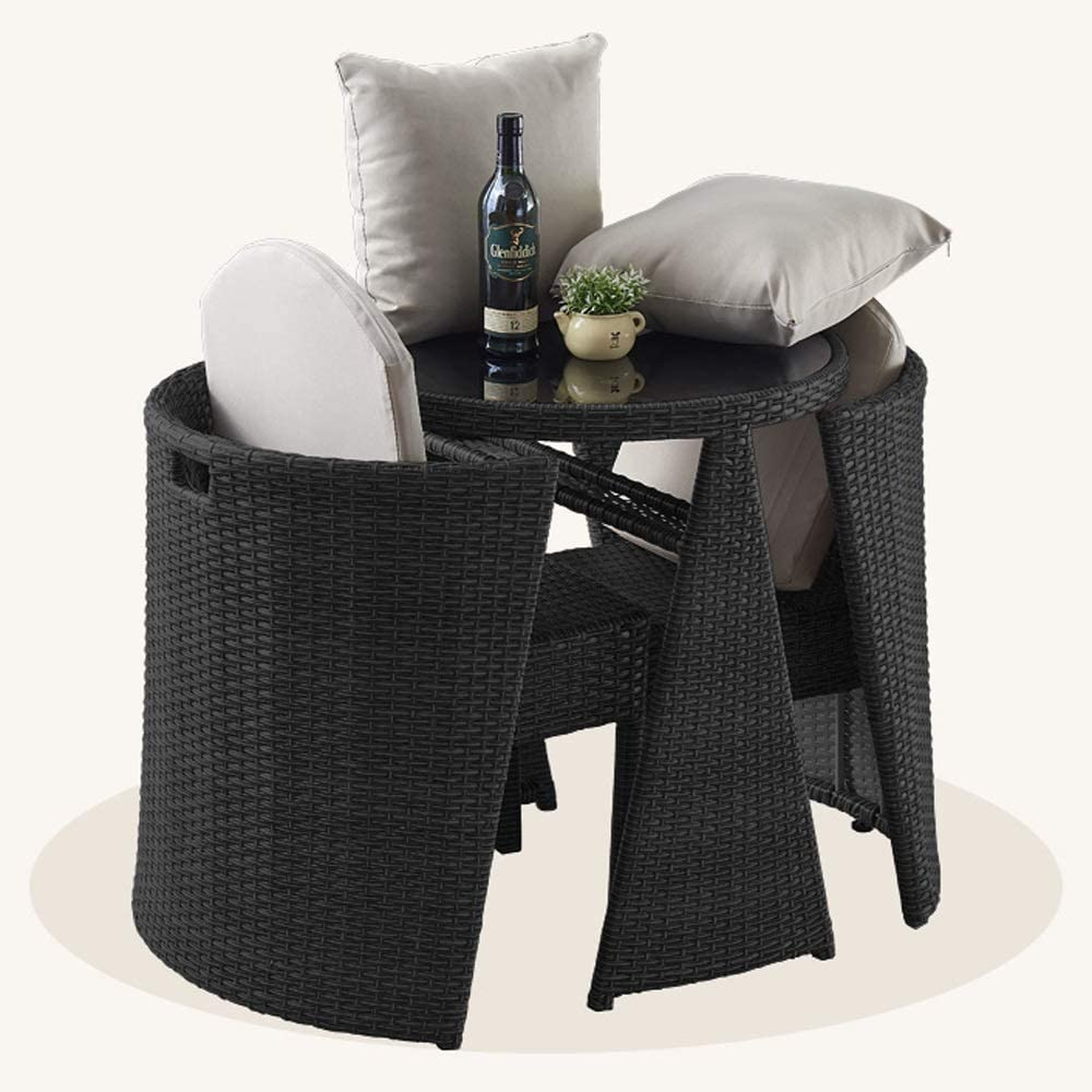 HOIHO 3 PCS Japanese Garden Rattan Table and Chairs Cylindrical Combination Bistro Garden Lawn Leisure Sofa Furniture Combination (Color : Black)