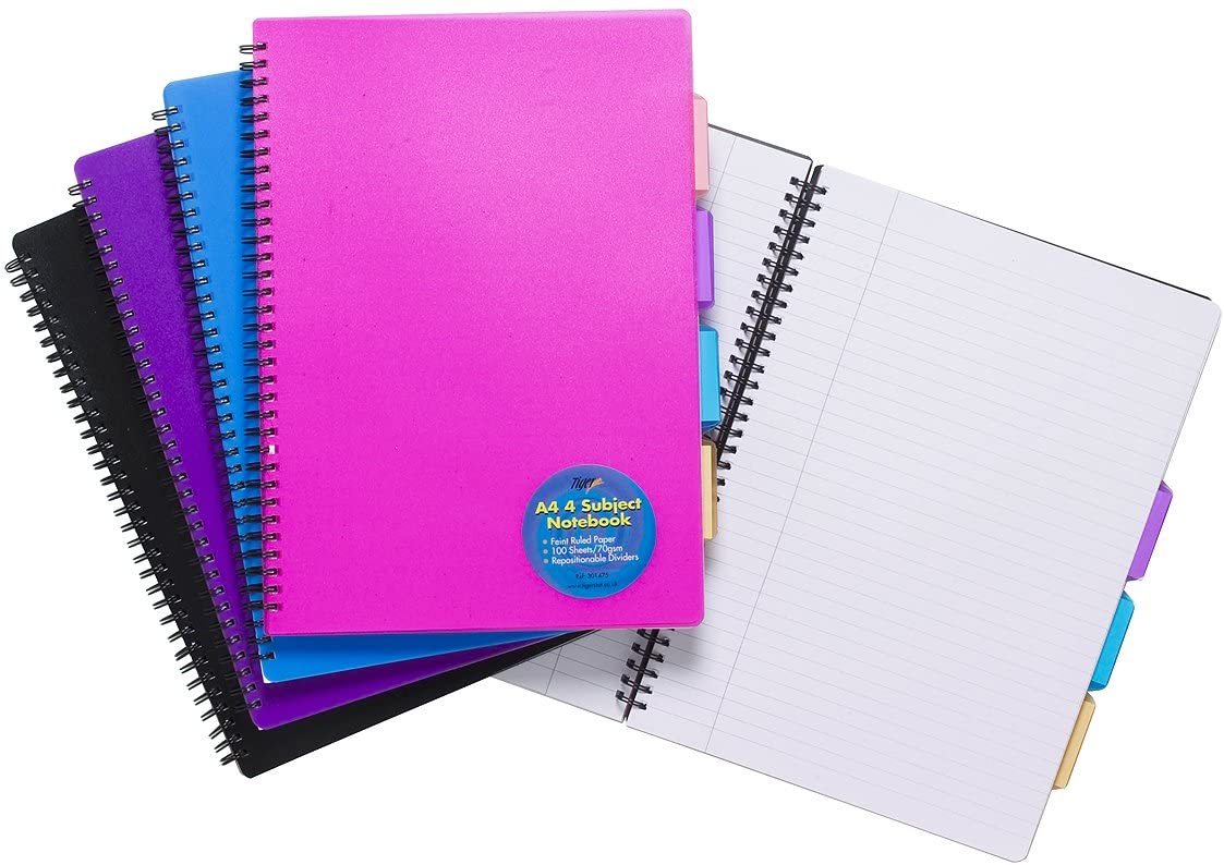 Tiger A4 PROJECT NOTEPAD Lined 100 Page Paper Notebook + 4 Part Subject Divid...