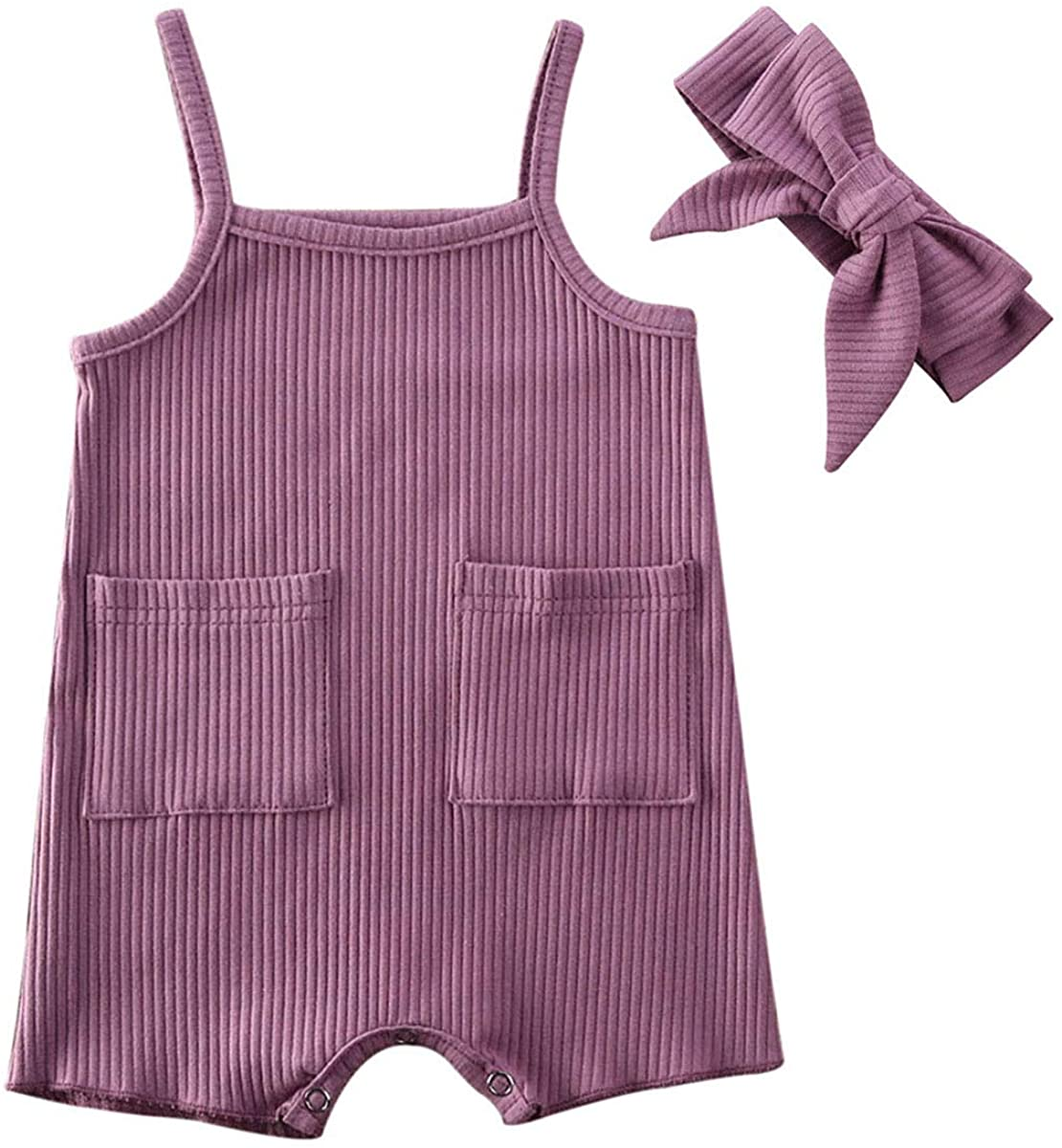 Toddler Baby Girl Summer Clothes Knit Halter Sleeveless Pockets Romper Jumpsuit Bodysuit One Piece Outfit with Headband