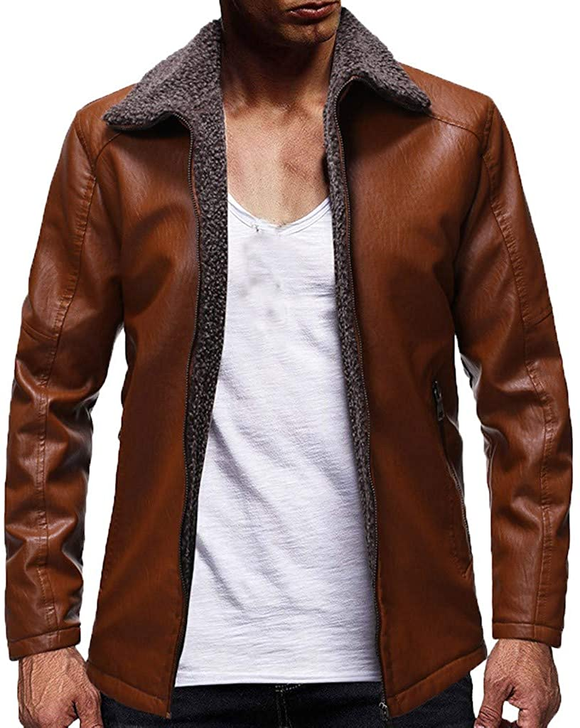 New Men's Fall Winter Vintage Premium Stand Collar Slim Fit Zip Up Racer Biker Jacket Coat