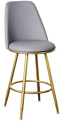 QQXX Counter Height Bar Stools Grey Round Seat Chairs Leather Dining Chairs Ergonomic Chair Metal Legs Thick Upholstery Seat (Color : Gray, Size : 65cm)