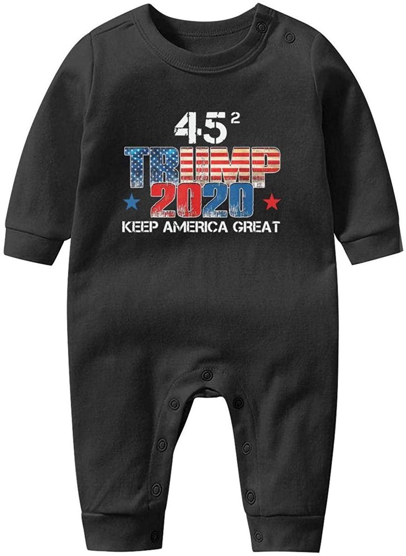 Unisex Baby Cartoon Footed Pajamas Trump-2020-star-white- Long Sleeve Footless Pajamas for Baby Boy Girl