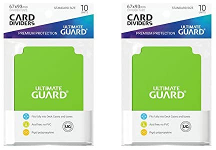 2 Packs Ultimate Guard Light Green Card Dividers (10) Standard Size Individual Pack