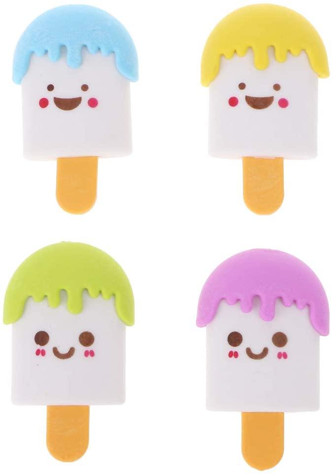 WANGFUFU Cute 3D Cartoon Face Ice Cream Rubber Erasers Pencil Eraser For Kids School Supplies Stationery Ice cream shape
