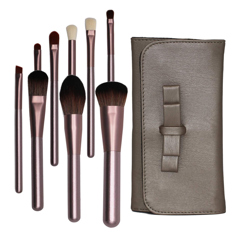 Makeup Brush Set 9PCS Kabuki Professional Premium Cosmetic Wooden Handle Synthetic Fiber Bristles Eyeshadow Eyebrow Foundation Powder Blending Brushes with Case