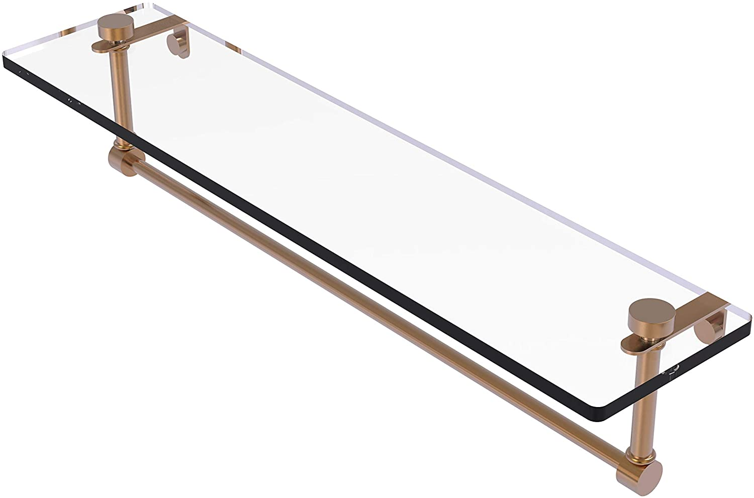 Allied Brass NS-1/22TB 22 Inch Vanity Integrated Towel Bar Glass Shelf, Brushed Bronze