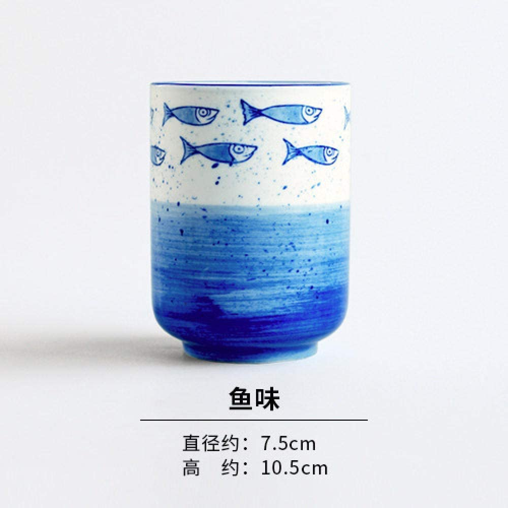 LJ Ceramic Cup Style Hand-Painted Blue and White Porcelain Tea Cup Without Handles Home Creative Straight Cup Ceramic Cup-Blue_Paint_280Ml,Fishy